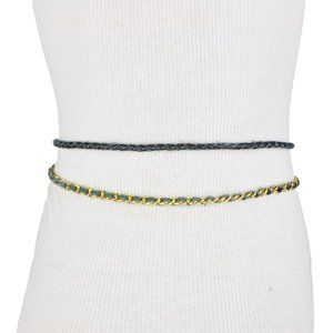 Black Faux Leather Double Chain Braided Belt